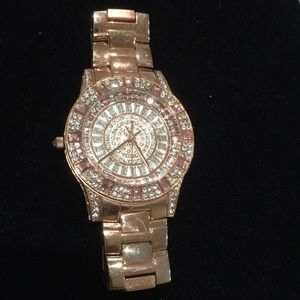 Victoria Wieck rose gold rhinestone watch